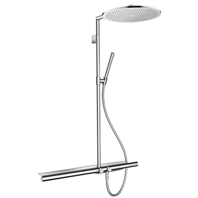 kuva kohteelle AXOR ShowerSolutions Showerpipe with thermostat 800 and overhead shower 350 1jet 27984000