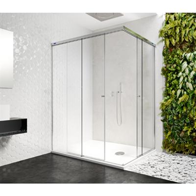 รูปภาพสำหรับ Duscho Gravity - 2 Fixed + Slider twin doors for shower in a corner