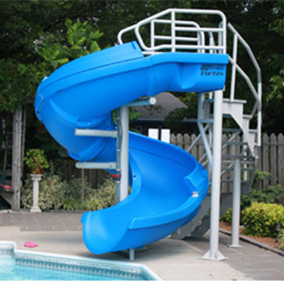 """Image for Vortex Commercial Water Slide, 10' 7"""" Overall Height, Corkscrew Runway"""