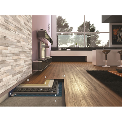 System for installing wooden flooring on a heated screed 이미지