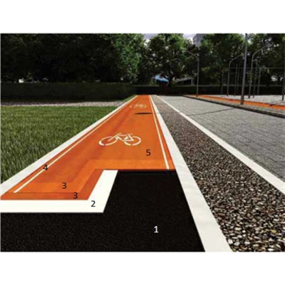 Cycle lanes, pavements and street furniture in synthetic resin 이미지