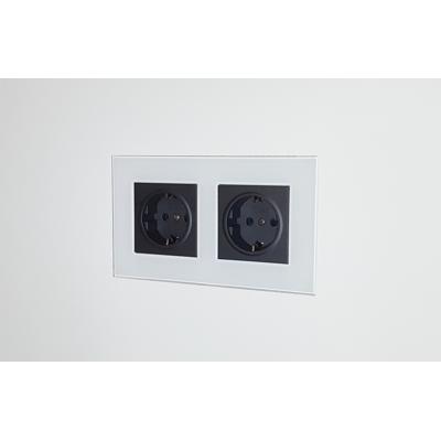 Image for Flush wall mount for Lutron Palladiom Square 2Gang socket - glass