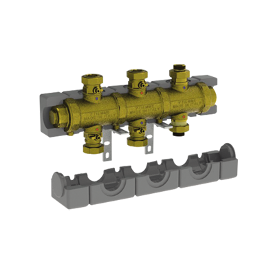 """Image for 5538G2M3 _ G1""""1/4 modular brass manifold with insulation for central heating  - COMPACT"""