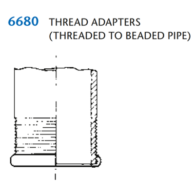 Image for KIMAX Model 6680 Thread Adapter for Threaded to Beaded Pipe