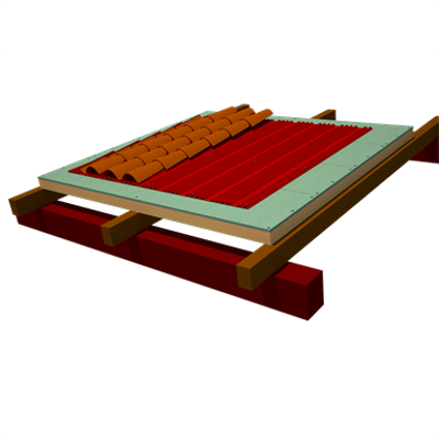 Onduline Integral ETICS roofing: ONDUTHERM Sandwich Panel´s Fir-wood panelling finishing  + Underroofing Sheet Onduline DRS BT-150 Plus + curved tiles için görüntü