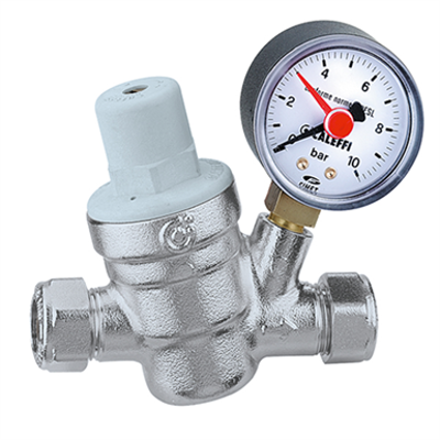 imagen para Inclined pressure reducing valve with compression ends, with pressure gauge
