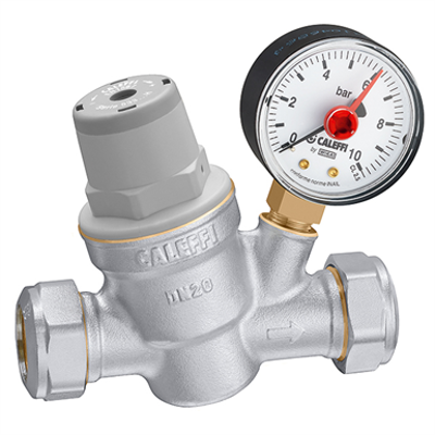 imagen para Inclined pressure reducing valve with compression ends. With pressure gauge