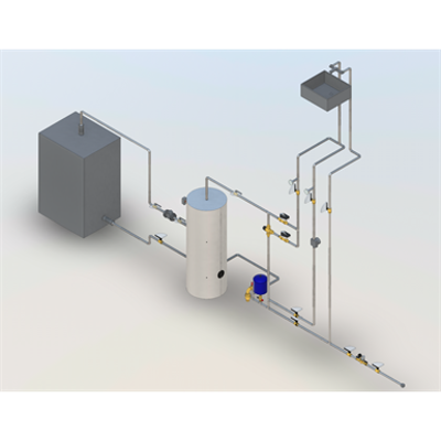 Image pour DHW production with storage, thermostatic mixing valve and antilegionella by-pass