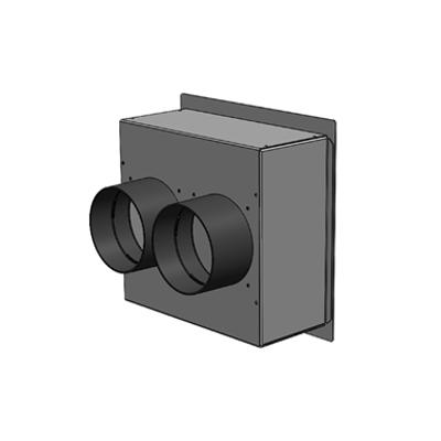 Immagine per Plenum in lamiera zincata 200 x 200, 2 attacchi posteriori DN 75, con bocchetta di immisione o estrazione