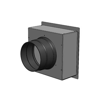 Immagine per Plenum in lamiera zincata 200 x 200, 1 attacco posteriori DN 125, con bocchetta di immisione o estrazione