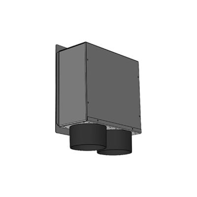 Immagine per Plenum in lamiera zincata 200 x 200, 2 attacchi laterali DN 75, con bocchetta di immisione o estrazione