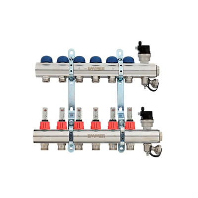 """Image for Topway  Pre-assembled distribution manifold nickel-plated, 24x19 takeoffs and 3/4"""" eurocone takeoffs with flow meters"""