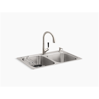 "изображение для KOHLER® All-In-One Kit 33"" x 22"" x 9-1/4"" All-In-One Kit top-/under-mount kitchen sink"