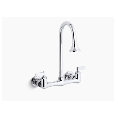 Image for Triton® double lever handle utility sink faucet with rosespray gooseneck spout