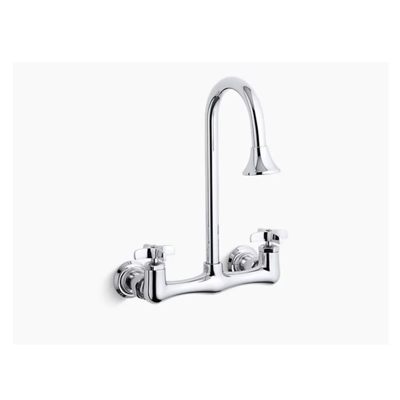 Image for Triton® double cross handle utility sink faucet with rosespray gooseneck spout
