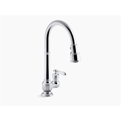 """Image pour Artifacts® single-hole kitchen sink faucet with 17-5/8"""" pull-down spout, DockNetik® magnetic docking system, and 3-function sprayhead featuring Sweep® and BerrySoft® spray"""