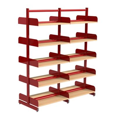 Image for Freestanding shelving system T-frame 900, wooden shelves on brackets