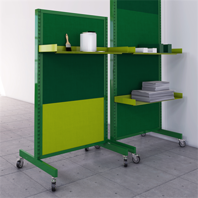 Image for L-stand with sound absorber high and metal shelf Modern