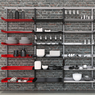 Image for Flexible wall system with metal shelf Modern