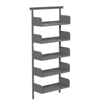 Image for Flexible wallsystem 900, metal shelves on shelf ends