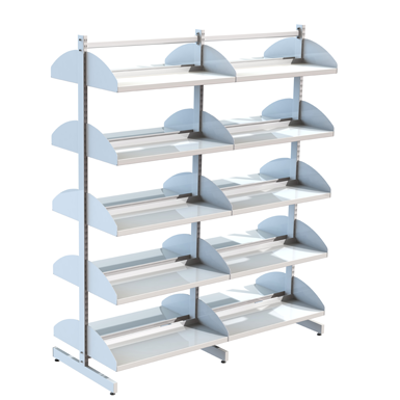 Image for Freestanding shelving system T-frame 900, metal shelves on shelf ends