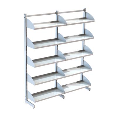Image for Freestanding shelving system L-frame 900, metal shelves on shelf ends
