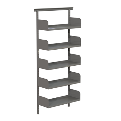 Image for Flexible wallsystem 800, metal shelves on shelf ends