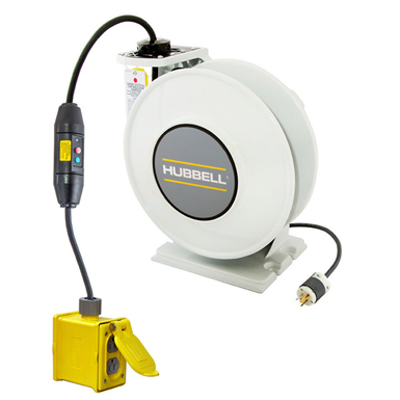 Image for Cord and Cable Reels, White Industrial Reel with Yellow Portable Outlet Box, GFCI Module, 45' 12/3 - HBLI45123GF220
