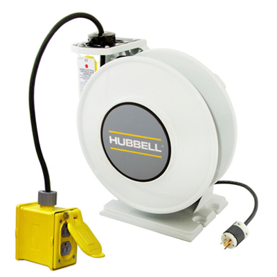 Image for Cord and Cable Reels, White Industrial Reel with Yellow Portable Outlet Box, 45' 14/3 - HBLI45143R15
