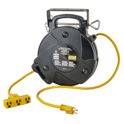 Image for Cord and Cable Reels, Commercial Cord Reel, 40', 15A 125V with Triple Tap, Yellow - HBLC40123TT