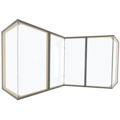 Image for Glass Corner Wood-ALU HS330