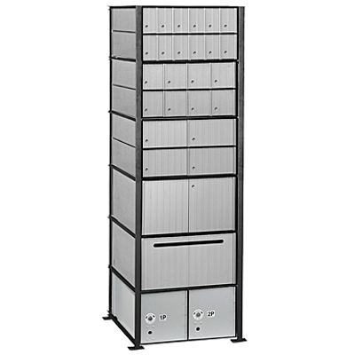 afbeelding voor 2200 Series Aluminum Mailboxes-Rack Ladder System-6 Unit High Wall Installation