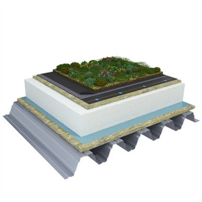 Image for Mono PM 1-layer system for green roofs with a slope ≥3,6° on troughed sheet insulated with mineral wool and expanded polystyrene