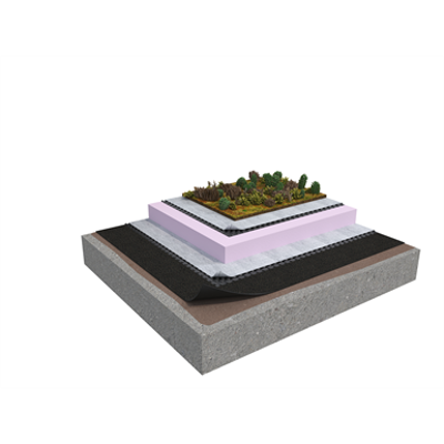Image pour Membrane 5 1-layer inverted roof system for extensive green roof on concrete insulated with XPS