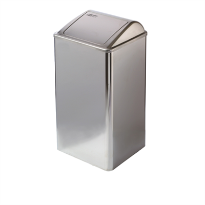 Image for Stainless steel waste receptacle with self-closing lid