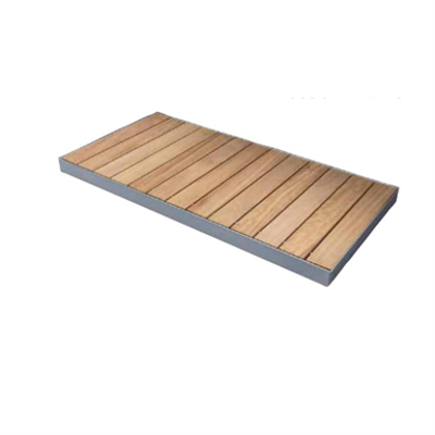 Image for STEEL SHOWER TRAY WITH SOLID WOOD SLATS CONFIGURABLE STEEL OUT 75_ ON THE FLOOR  SHOWER