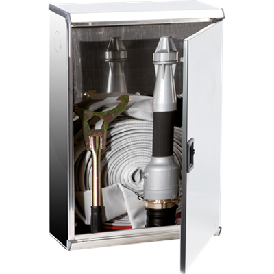 """Image for 2/MPX FIRE HOSE SYSTEM FOR FIRE SERVICE USE DN 70 - """"Electa"""" METAL DOOR STAINLESS STEEL CABINET"""