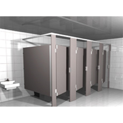 Solid Plastic Toilet Partitions Headrail Braced图像