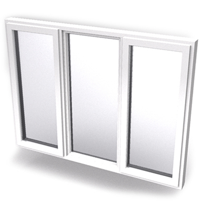 Image for Intakt inward opening window 2+1 glass 3-light with mullions Middle fixed