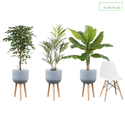 Obrázek pro 3 x Grey Planters with Timber Legs - Mixed Replica Planting - 1600mm