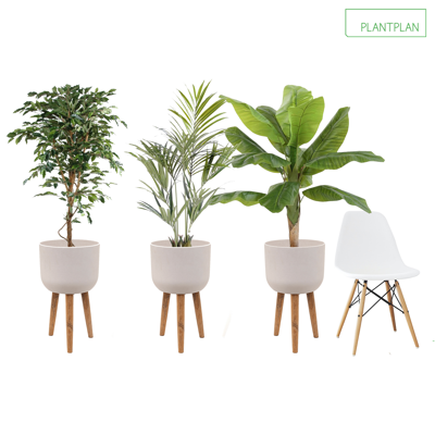 Image for 3 x White Planters with Timber Legs - Mixed Replica Planting - 1600mm