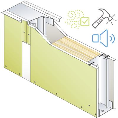 Drywall PREGYMETAL 72mm -  Anti-VOC & Robust - EI30 - 43dB - SINIAT 이미지