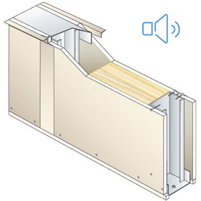 Drywall PEGYMETAL 72mm - EI30 - 39dB - SINIAT 이미지