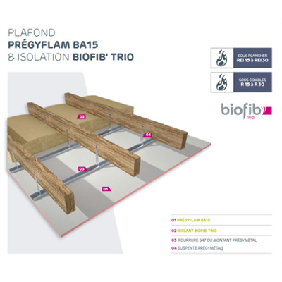 Image for Fireproof and Acoustic Ceiling - SINIAT Prégymétal with Bio-sourced Insulation BIOFIB