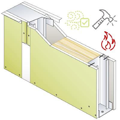 Image for Drywall PREGYMETAL 98mm S - Anti-VOC & Robust - EI60 - 37dB - SINIAT