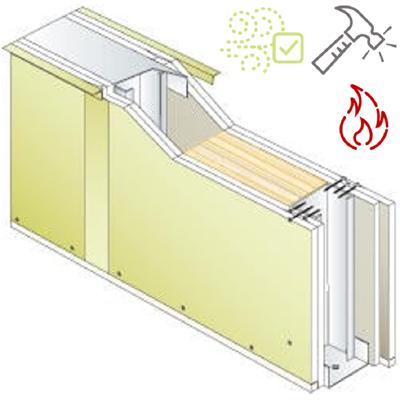 Image for Drywall PREGYMETAL 98mm - Anti-VOC & Robust - EI60 - 50dB - SINIAT