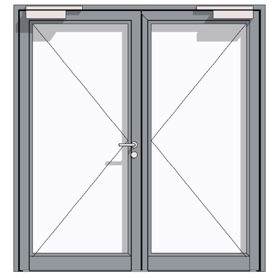 Image for HE 921, aluminium fire-rated hollow profiled section door