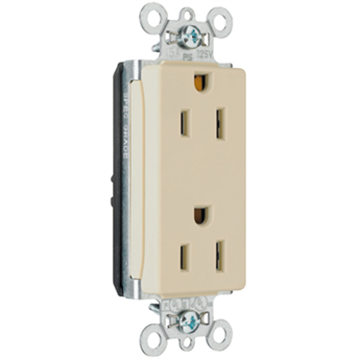 afbeelding voor Heavy-Duty Decorator Spec Grade Receptacles, Back & Side Wire, 15-20A, 125V