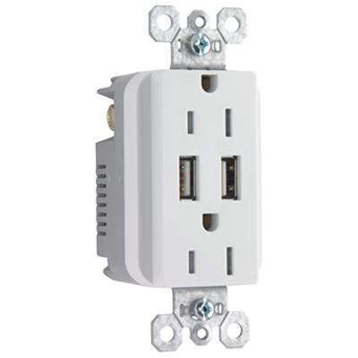 Fed-Spec Grade USB Charger with Tamper-Resistant 20A Duplex Receptacles图像