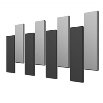 """Image for Acoustimac DMD Stagger Acoustic Design Pack: 8 Pcs (8) 4'x1'x2"""" 4-gray & 4-charcoal"""